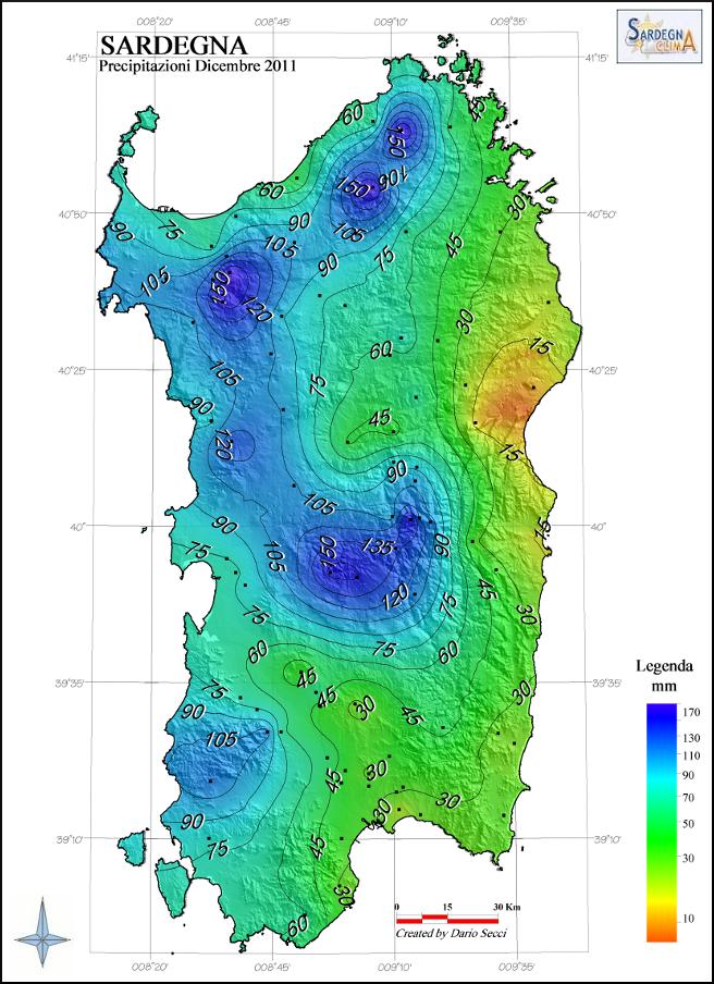 Mappa Km Sardegna.Dicembre 2011 Sardegna Clima