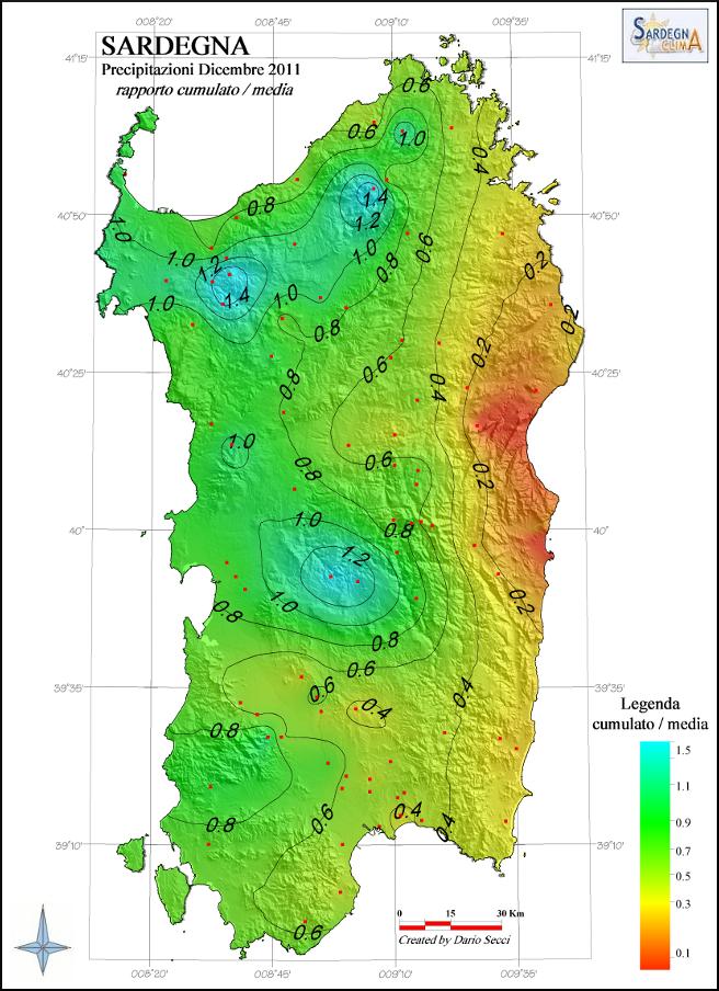 Cartina Sardegna Ussana.Le Precipitazioni In Sardegna Dicembre 2011