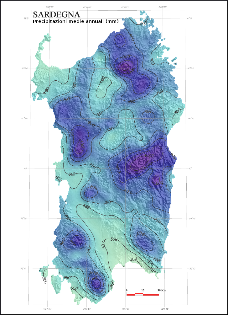 Mappa Km Sardegna.Precipitazioni E Temperature Medie In Sardegna Analisi