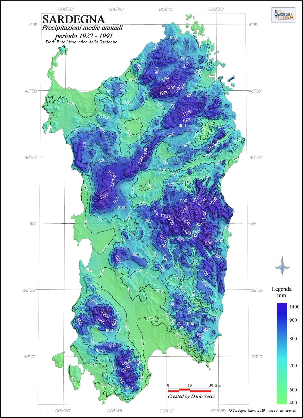 Mappa Sardegna 1954.Dati Climatici